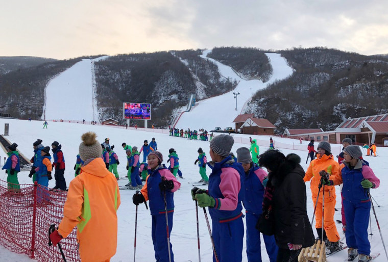 Image: Skiers from North and South Korea line up at the Masikryong Ski Resort in North Korea