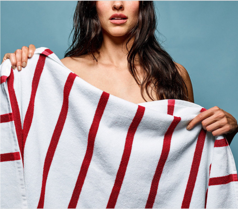 Woman with red striped towel