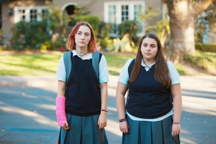 Saoirse Ronan stars as Christine 'Lady Bird' McPherson and Beanie Feldstein stars as Julie Steffans.