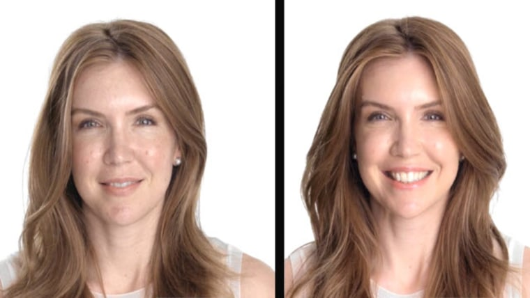 Side by side of woman in makeup