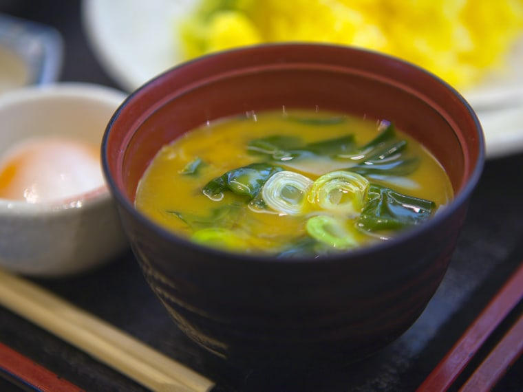 Food sample of miso soup