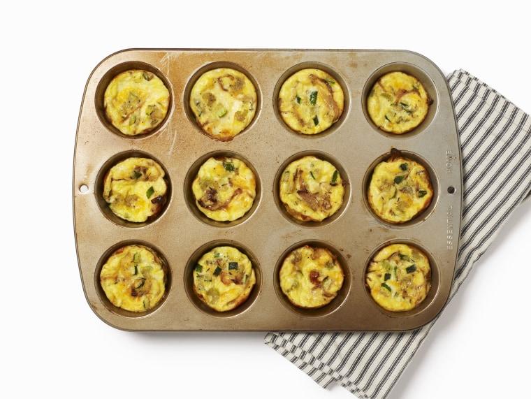 Mini quiches in muffin tin