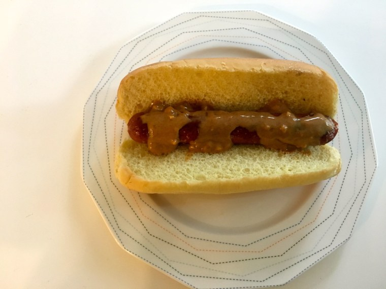 Peanut butter hot dog