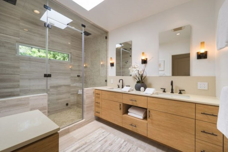 terrific mid century master bedroom bath | Anna Faris Hollywood Hills home is for sale
