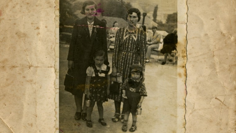 Nat Shaffir remembers his childhood as peaceful, before the war. Nat in 1938 with his sister, mother and aunt in a park in Romania. His aunt was killed in the Holocaust.