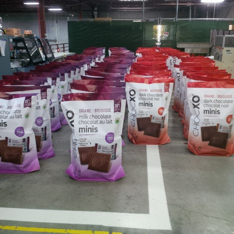 Chocxo giant bags of chocolate in production