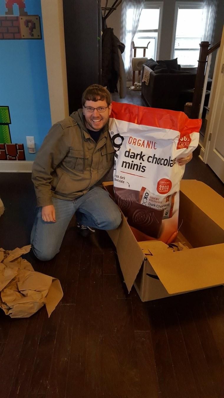 Customer standing next to chocolate