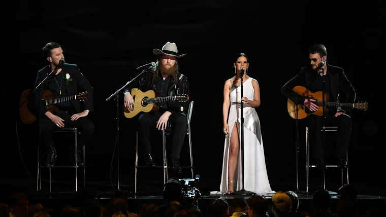 The Brothers Osborne, Maren Morris and Eric Church perform Grammys tribute to victims of violence