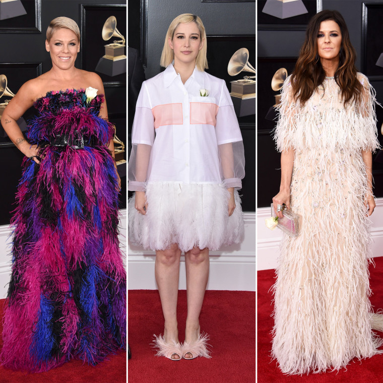 Pink, Rachel Antoff and Karen Fairchild were just a few of the stars who sported feathered frocks.