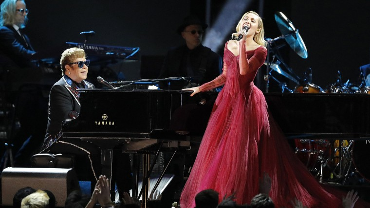 Miley Cyrus and Elton John perform at Grammy Awards