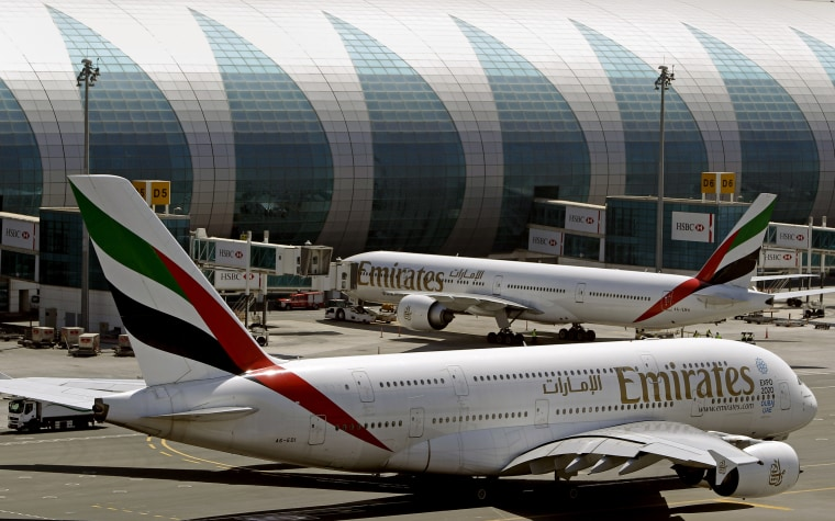 Image: Emirates passenger planes at Dubai airport in the  United Arab Emirate