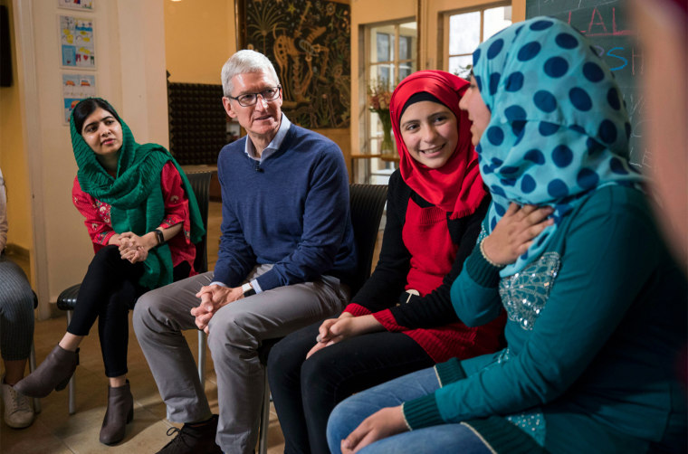 Image: Apple CEO Tim Cook and Nobel Peace Prize Laureate Malala Yousafzai speak with Lebanese and Syrian students in Beirut