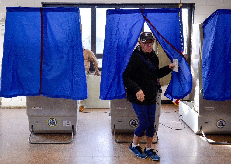 Image: A Voter Leaves the Polling Booth during the U.S. Presidential Election in Philadelphia