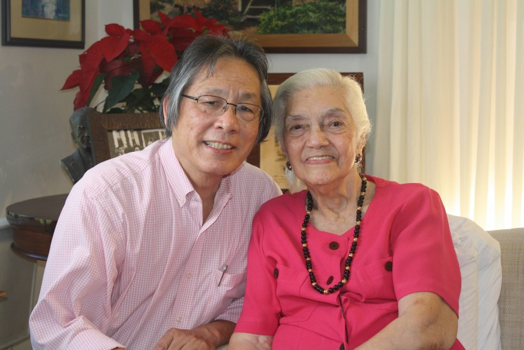 "Noel ""Sonny"" Izon pictured with Aurora Quezon Avancena, President Quezon's last surviving daughter."