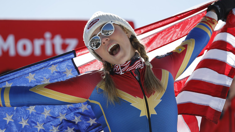 Mikaela Shiffrin celebrates her victory in the women's slalom at the Alpine Skiing World Championships in St. Moritz, Switzerland, in February 2017.