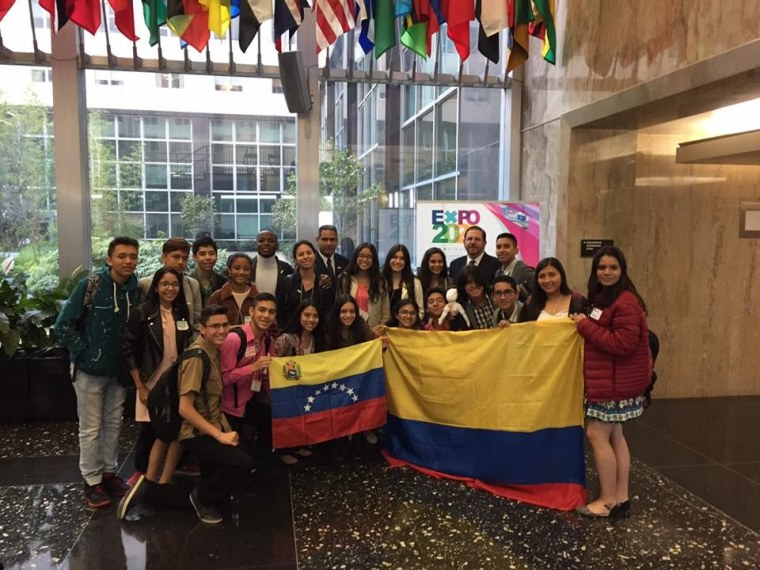 Participants from Colombia and Venezuela in the Partners of the Americas youth cultural exchange in Washington, DC.