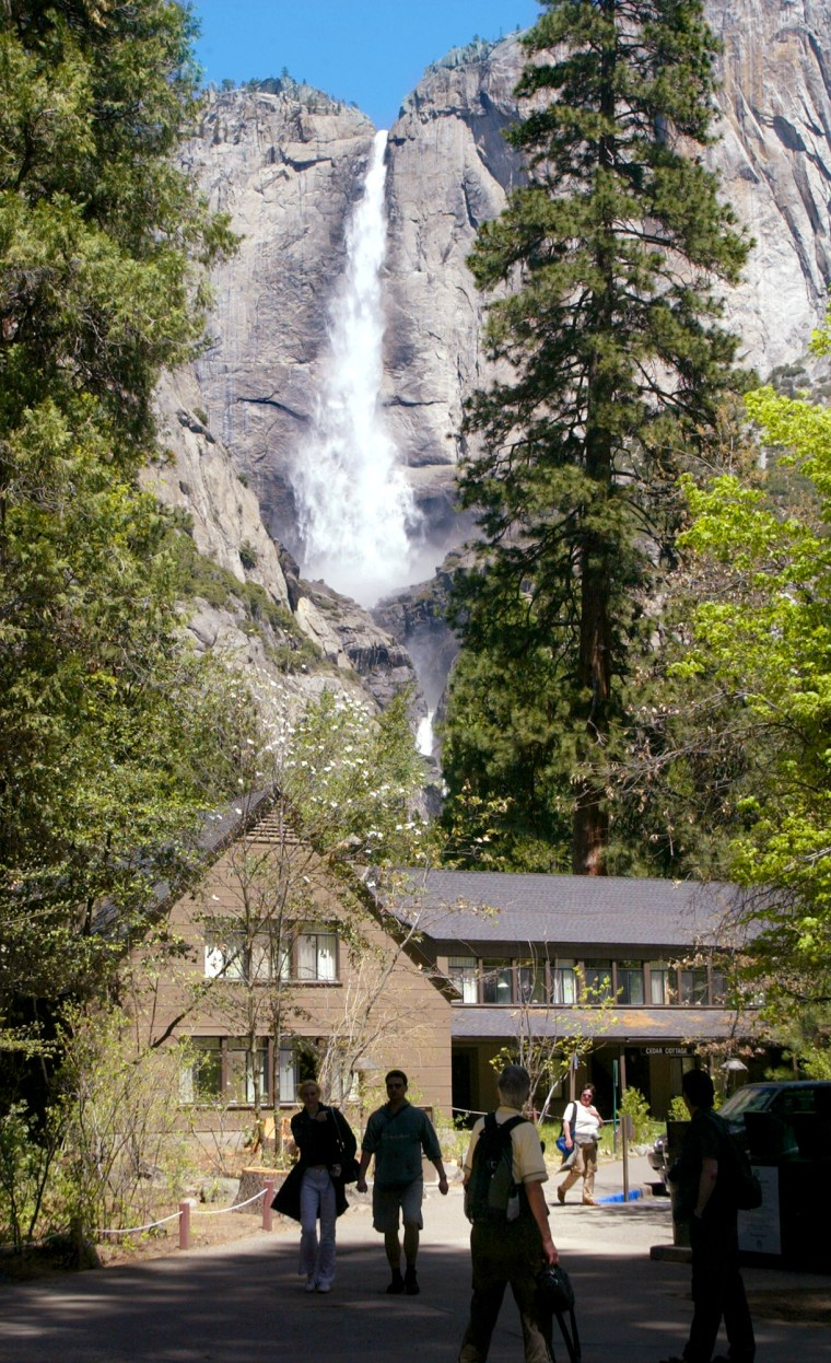 Image: People mill around at Yosemite Lodge
