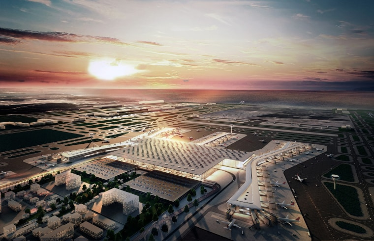 Image: An artist's impression of the new Istanbul airport, whose first terminal will be the world's largest.