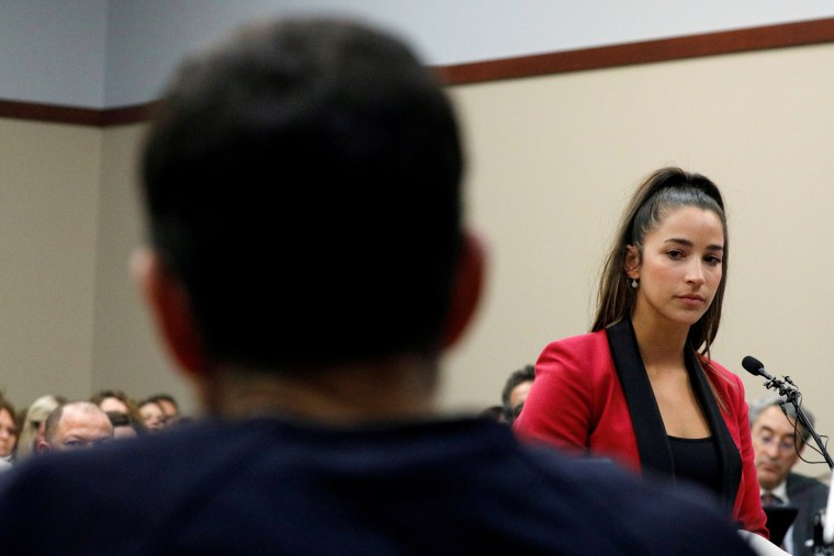 Image: Aly Raisman speaks at the sentencing hearing for Larry Nassar