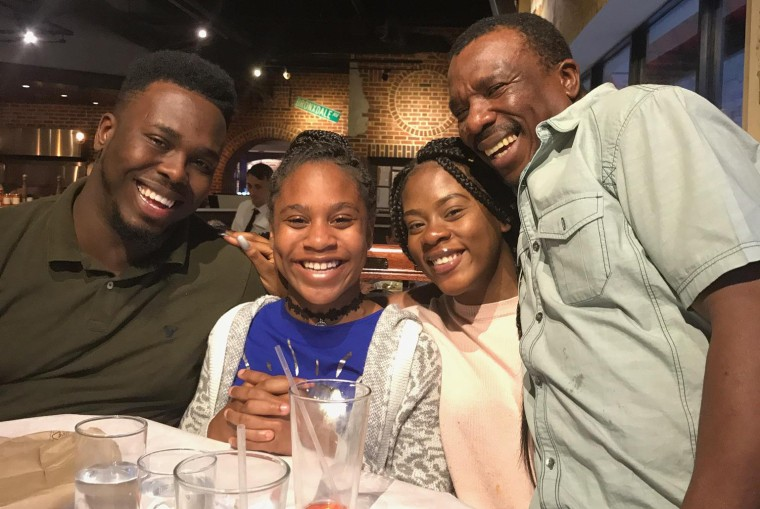 Image: Errol Wray Jr. (left) with his two younger sisters and his dad Errol Wray Sr. during a family night out in New York City.