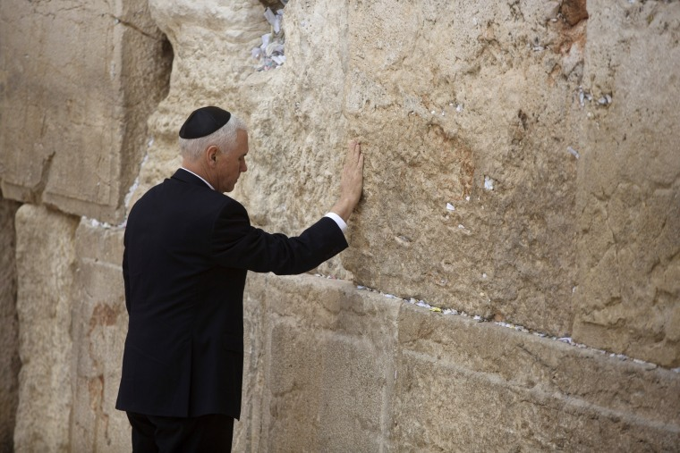 Image: Vice President Mike Pence places his hand on the hallowed Western Wall in Jerusalem's Old City