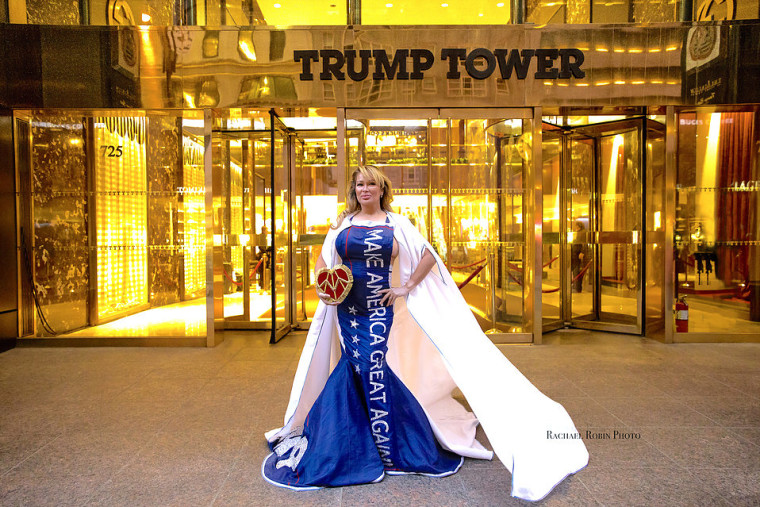 "Lisa Christiansen, wearing a ""Make America Great Again"" gown by Andre Soriano in front of Trump Tower in New York."