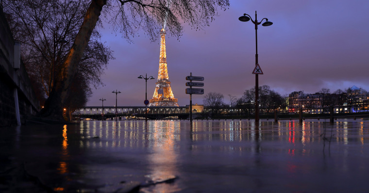 Image: A view shows the flooded banks of the Seine River and the Eiffel Tower after days of rainy weather in Paris