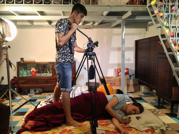 """Huynh Nguyen Dang Khoa being filmed for his web series, """"My Best Gay Friends."""""""