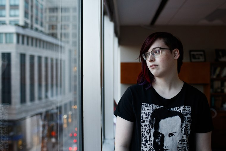 Image: Nova Maday, 18, a transgender senior at Palatine High School who is suing District 211 for locker room access, poses for a portrait inside an ACLU office on  Dec. 3, 2017, in Chicago, Illinois.