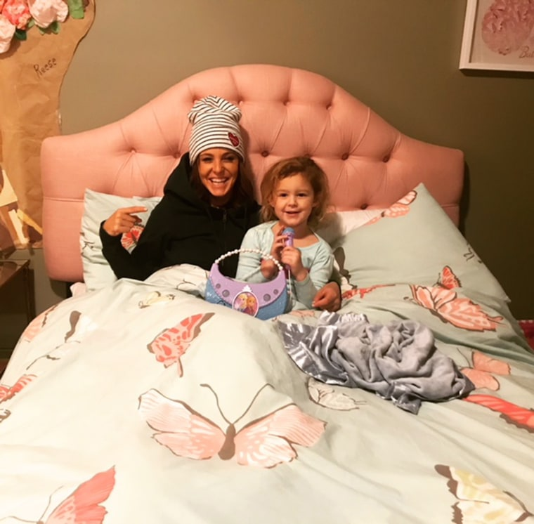 Image: Stephanie Ruhle and her daughter Reese at home in New York City.