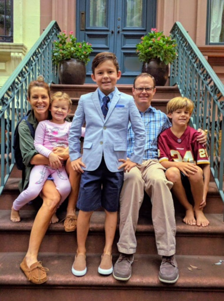 Image: Stephanie Ruhle, husband Andy Hubbard and their children Reese, Harrison and Drew at home in New York City.