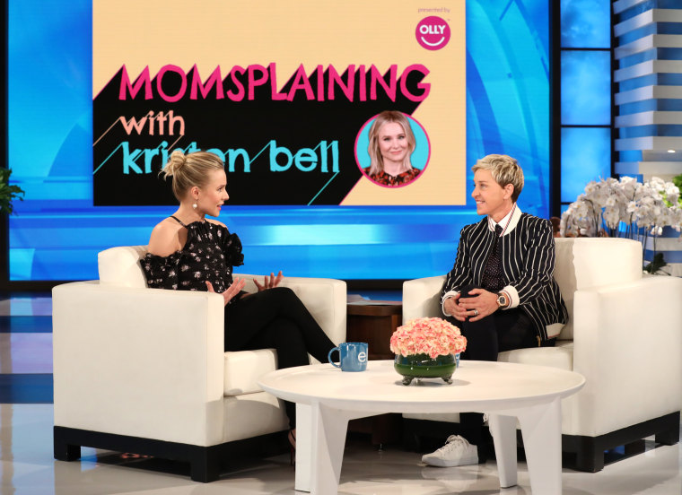 """""""I made two tiny humans. Does that make me a parenting expert? Not exactly,"""" said actress Kristen Bell. Still, in her original digital series """"Momsplaining with Kristen Bell,"""" made with Ellen DeGeneneres and Olly Nutrition, she shares what she knows."""
