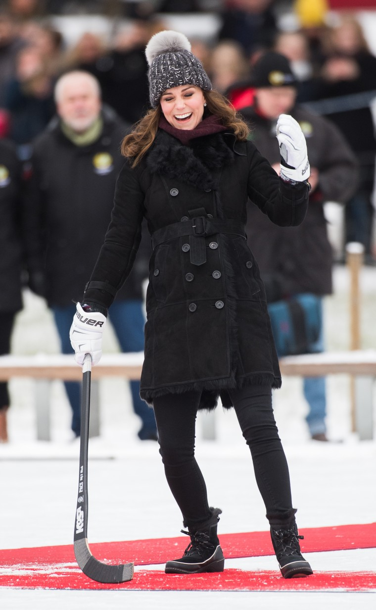 Kate, Duchess of Cambridge, sports winter style while playing bandy hockey