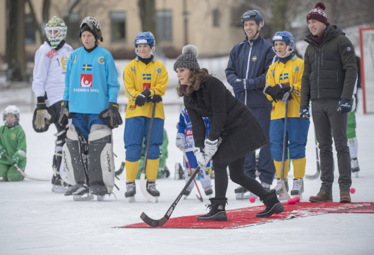 Kate, Duchess of Cambridge, in a bandy hockey shootout