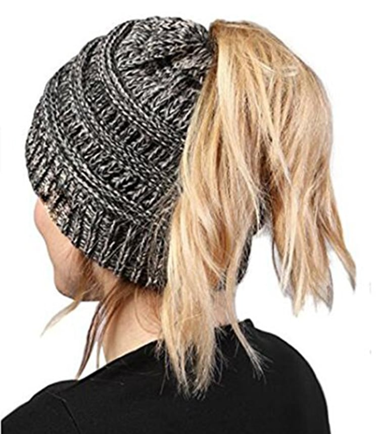 Mazdom Coatah Warm&Stylish Beanie Tail Soft Stretch Messy Cable High Bun Ponytail Hat photo
