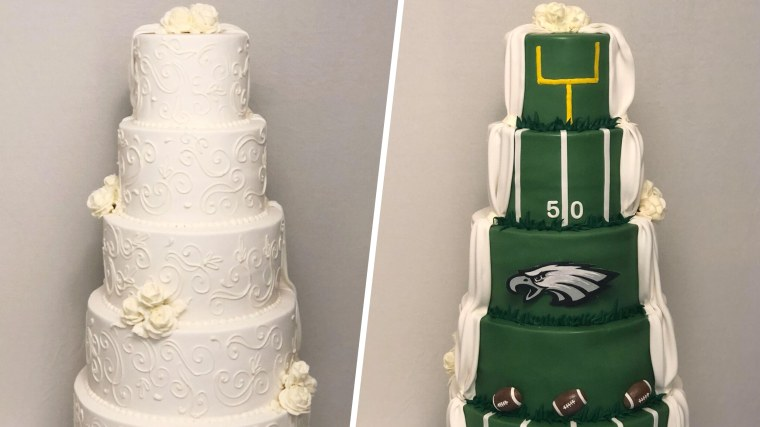 A couple whose wedding cake was traditional on one side, Philadelphia Eagles themed on the othe