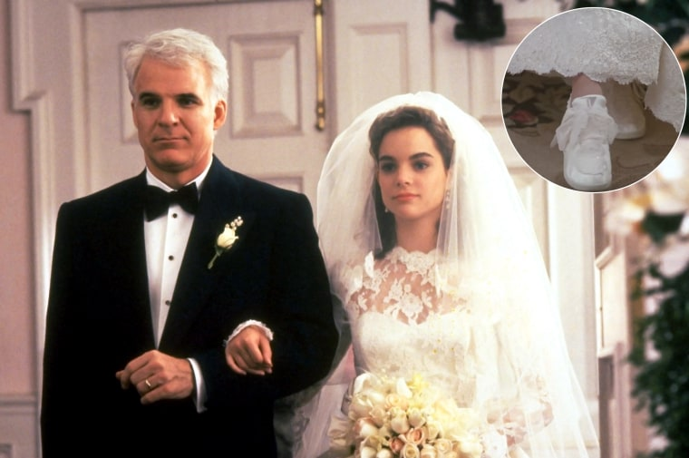 "In the film ""Father of the Bride,"" actress Kimberly Williams' character famously wore sneakers under her wedding gown."