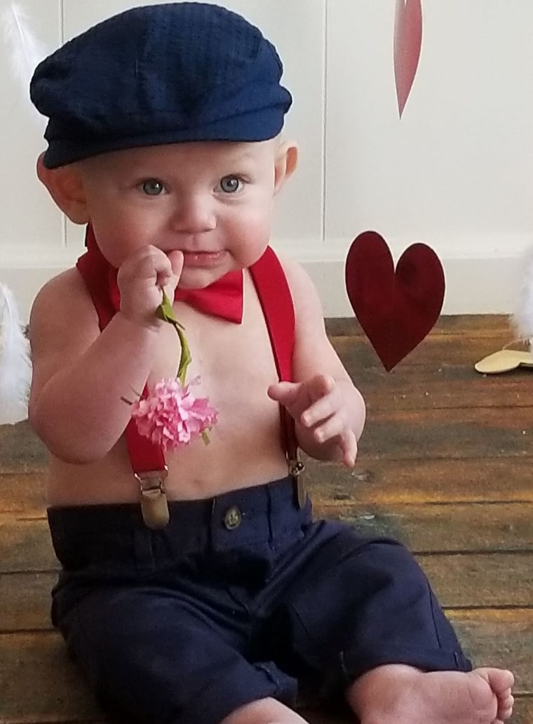 """""""This is Connor. Eight months,"""" said Alicia Blalock French. """"He had his first surgery in September at 3 months of age. He's diagnosed with double outlet right ventricle and mitral valve deformity."""""""