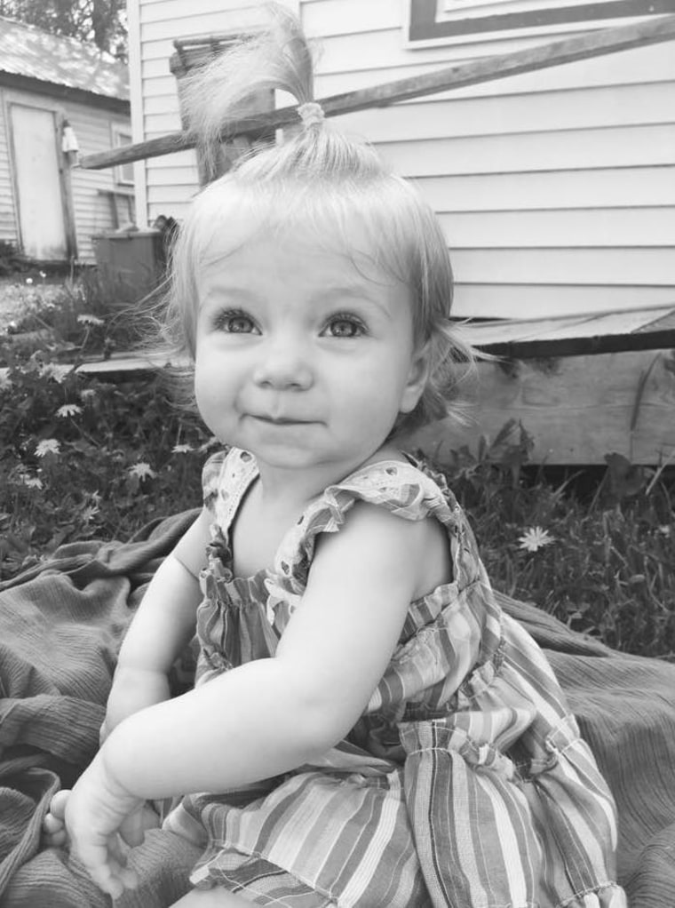 """""""My tiny heart warrior,"""" wrote Kacey Stoll. """"She's been on a heart transplant list since 4 months old; diagnosed with dilated cardiomyopathy with extreme heart failure. She's still waiting at 21 months. She's a gift from God."""""""