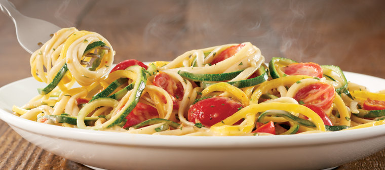 Spiralized Veggie Pasta plate from Olive Garden