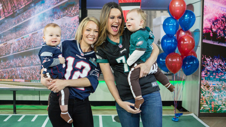 Baby Bowl on TODAY (L-R) Dylan Dreyer holding Calvin Fichera and Savannah Guthrie holding Charley Feldman.