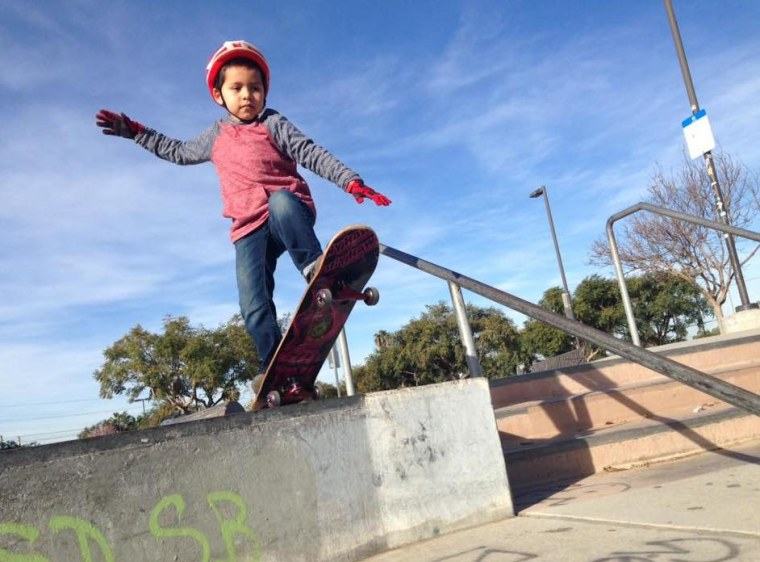 """""""This is 6-year-old Gael. He is a CHD warrior who has Tetralogy of Fallot and pulmonary atresia,"""" shared Saul Solano. """"He has had four surgeries and faces more in the future, but for now he is enjoying a break from the hospital by shredding the pavement and going to TaeKwonDo. He is our little skateboarding ninja."""""""