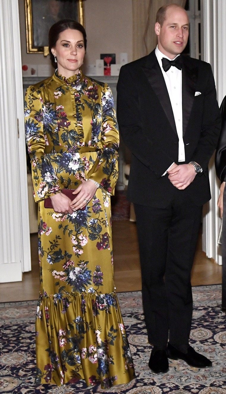 Image: Britain's Prince William, Catherine Duchess of Cambridge, Crown Princess Victoria and Prince Daniel pose for photographers prior to a dinner at the British Ambassador's residence in Stockholm