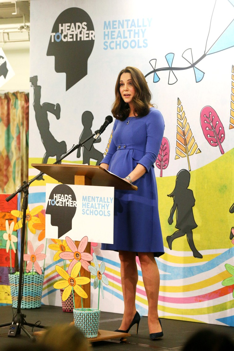 Image: Britain's Catherine, The Duchess of Cambridge, speaks during a visit to Roe Green Junior School, Brent, London