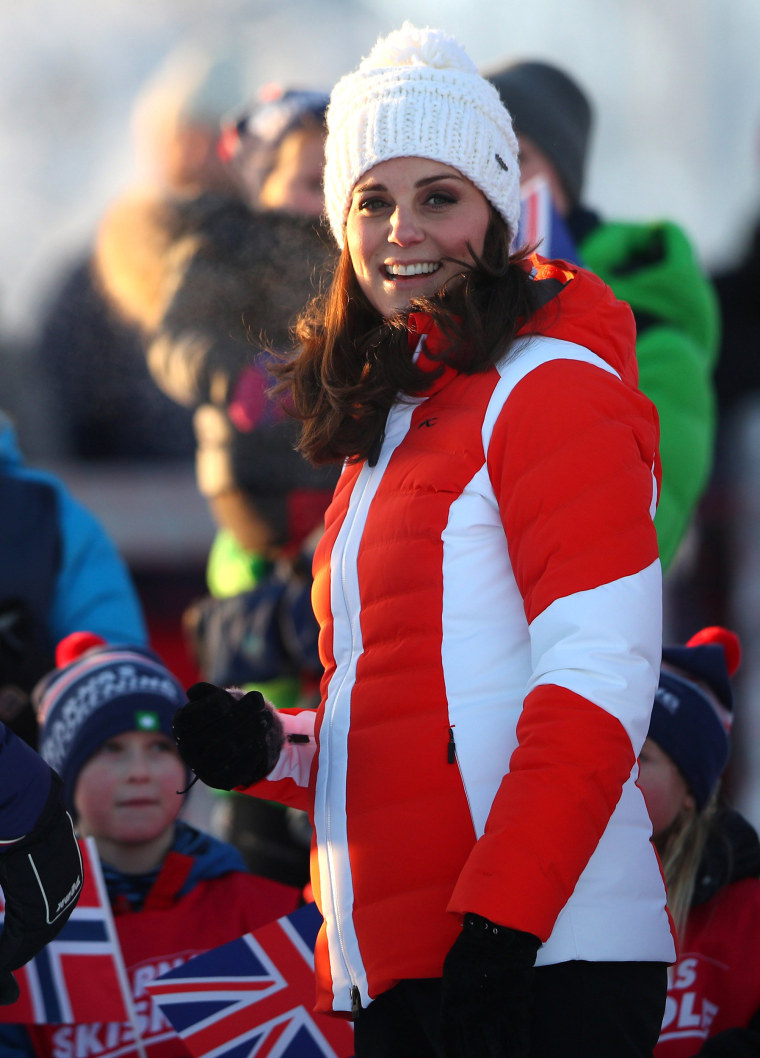 Britain's Catherine, the Duchess of Cambridge, smiles at the camera at a ski event organised by the Norwegian Ski Federation at the Tryvann Ski Resort, in Oslo.