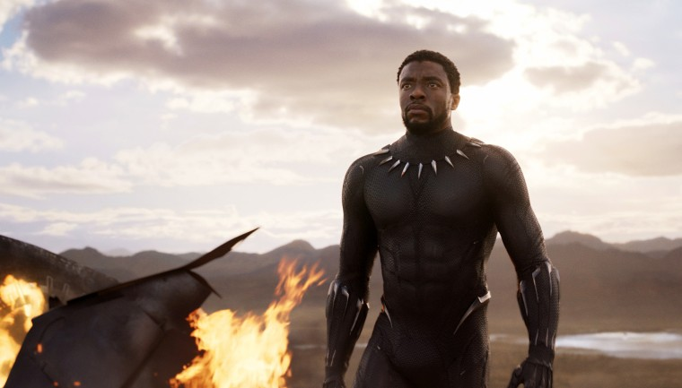 "Image: Chadwick Boseman in a scene from ""Black Panther,"" in theaters on Feb. 16, 2018."