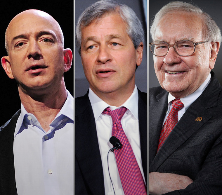 Image: Jeff Bezos, Jamie Dimon, Warren Buffett