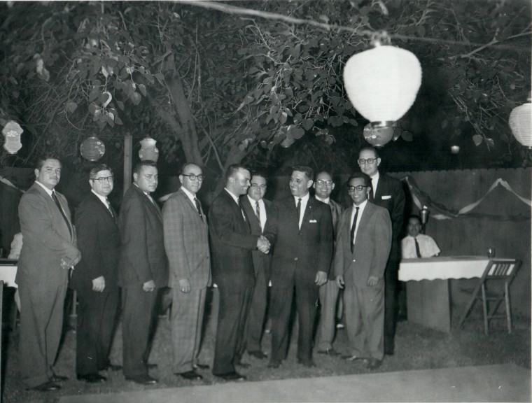 A picture of new LULAC Council 60 officers being sworn in from March, 1961.