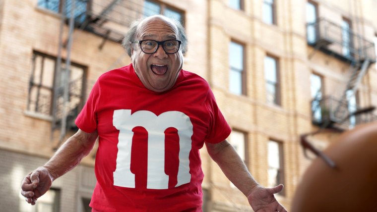 Image: A scene from the M and M's ad spot, featuring actor Danny DeVito for the 2018 Super Bowl.