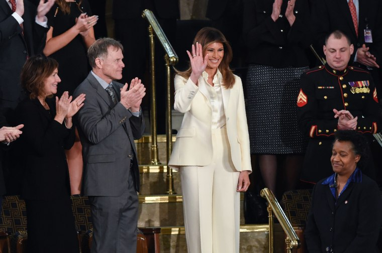 Image: First Lady Melania Trump waves as she arrives for the State of the Union address
